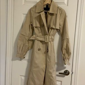 Mackage trench coat w/ leather detail classic tan